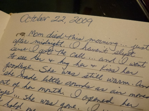 Handwritten entry from journal on 10-22-09