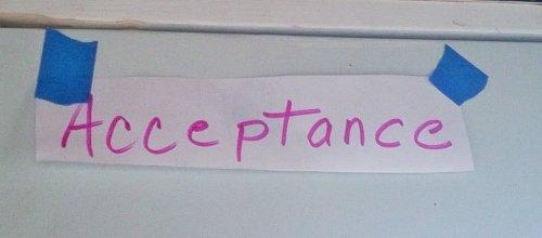 """Handwritten """"Acceptance"""""""